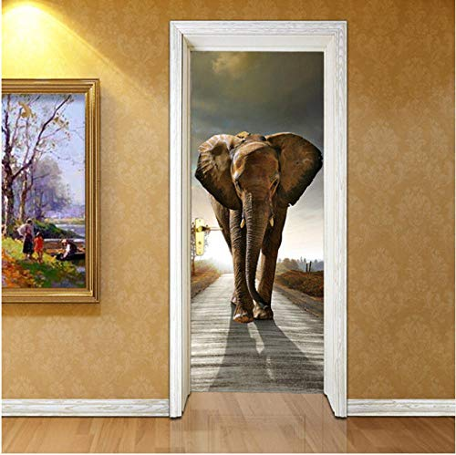 OHEHE Türposter Selbstklebend 3DElefant Türtapeten Wasserdicht Türposter Selbstklebend Abnehmbar Fototapete Schlafzimmer Wohnzimmer Wohnkultur PVC 95x215cm