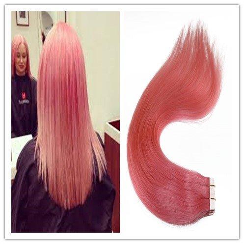 Ruban adhésif en Extensions capillaires Lot de 20/50 g 35,6 cm 40,6 cm 45,7 cm 50,8 cm 55,9 cm 61 cm 100% humains Remy Cheveux raides naturels Couleur Rose