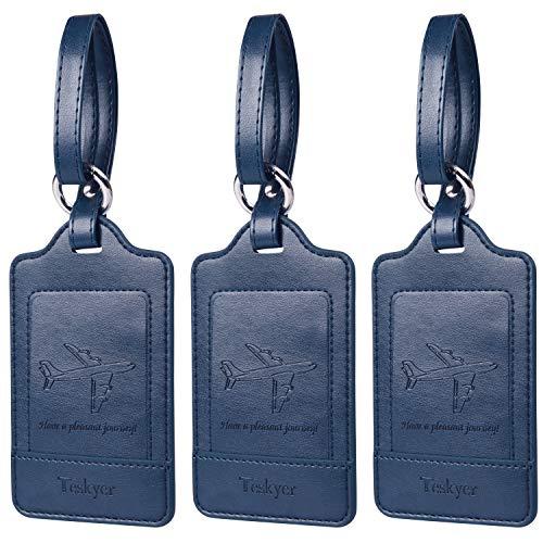 荷物タグ 紛失防止 スーツケースタグ 出張用タグ ネームタグ 番号札 バッグ用ネームタグ レザー 旅行タグ トラベル用 旅行手荷物 ラベル 三枚入り 全部7色(ブルー)