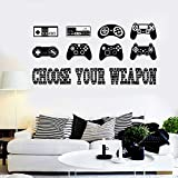 WFYY Gaming Quotes Wandtattoos Gamepad Stil Wandaufkleber Für Spielzimmer Removable Home Decoration 42X84 cm