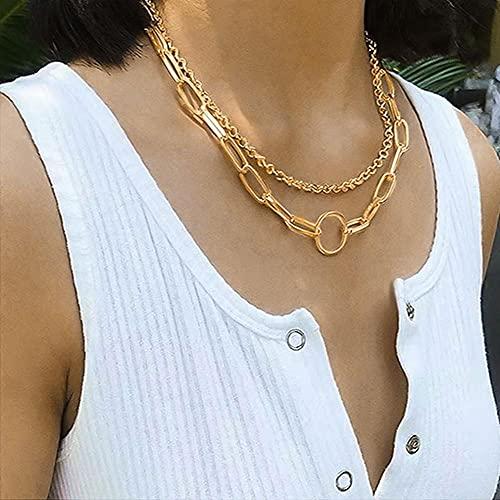 LKHJ Collar de Cuello de Cadena de Oro para Mujer Moda Punk Metal Cadena Multicapa Collar de Cadena Tendencia Hombres Hombres Joyería