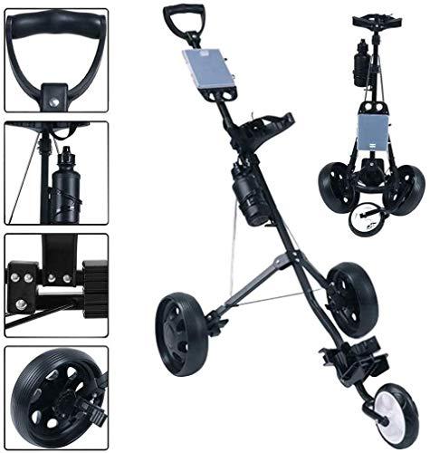 FFKL Golf Trolley 3 Rad, Golf Push Cart Eine Sekunde Zum Öffnen Und Schließen, Zusammenklappbarer Golf Caddy, Leichter Golf Cart Mit Scorecard-Getränkehalter,Black