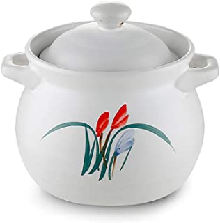 Cazuela de cerámica China con Tapa y Mango, Olla de Barro Profunda Hecha a Mano Olla Olla Utensilios de Cocina saludables Utensilios de Cocina saludables Blanco 2.74Quart