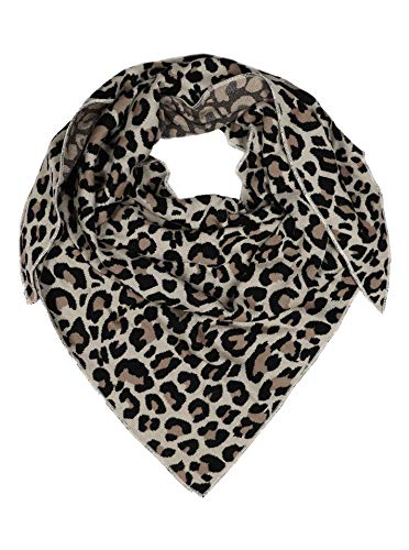 Zwillingsherz Dreieckstuch aus Baumwolle - Hochwertiger Schal mit Leo Design für Damen Jungen Mädchen - Uni - XXL Hals-Tuch und Damenschal - Strick-Waren - für Herbst Frühjahr Sommer beige