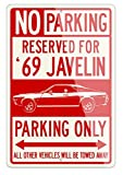 Legend Lines AMC Javelin Coupe 1969 Reserved Parking Only - Señal de aluminio, Rojo, Large