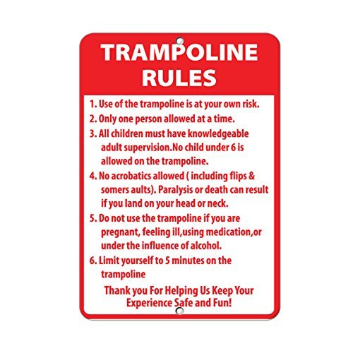 Carerfeme Metal Aluminum Sign Decor Trampoline Rules Activity Sign Park Signs Park Rules Signs Aluminum Metal Sign(8 X 12 Inches)