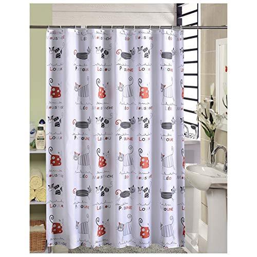 SonMo Duschvorhang Karikatur Katze Polyester Bunt Wasserdicht Anti-Bakteriell Anti-Schimmelbad Vorhang für Badezimmer Badewanne mit Duschvorhangringen Verdicken 240×200CM