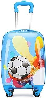 YCYHMYF Cartoon Mini Suitcase 16 inch Children Trolley Luggage Blue Football