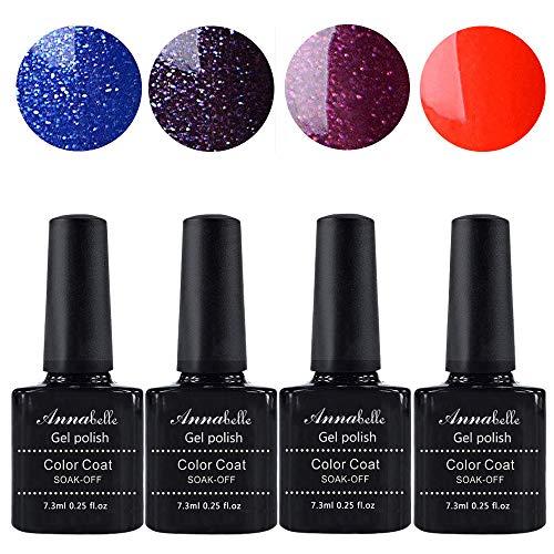 Allenbelle Smalto Semipermanente Nail Polish UV LED Gel Unghie (Kit di 4 pcs 7.3ML/pc) 044