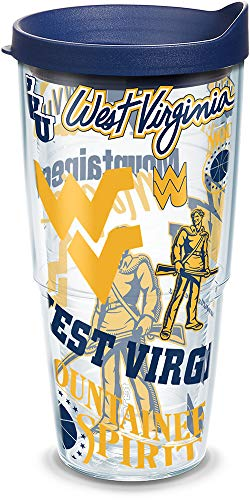 Tervis West Virginia Mountaineers All Over Insulated Tumbler with Wrap and Navy Blue Lid, 24oz, Clear