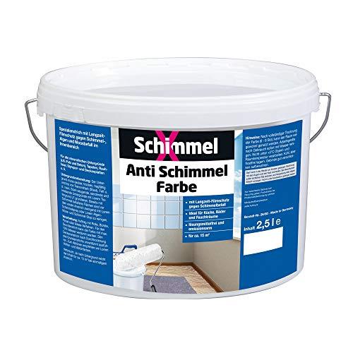 Pufas 2500 SchimmelX Anti-Schimmelfarbe Innen-Farbe mit Langzeitschutz Weiß 2.5 L