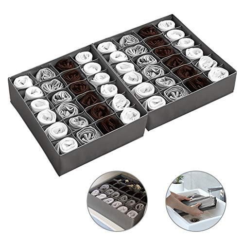 TonStyle Aufbewahrungsbox für und Socken, 24 Zellen Schubladen Organizer Ordnungssystem Faltbare Schubladenunterteilungen zum Aufbewahren von Socken, Schals und Krawatten Andere Kleine Zubehörteile