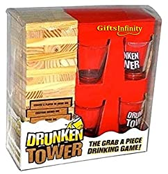 Drunken Tower adult drinking board game with block stacking tower and 4 shot glasses