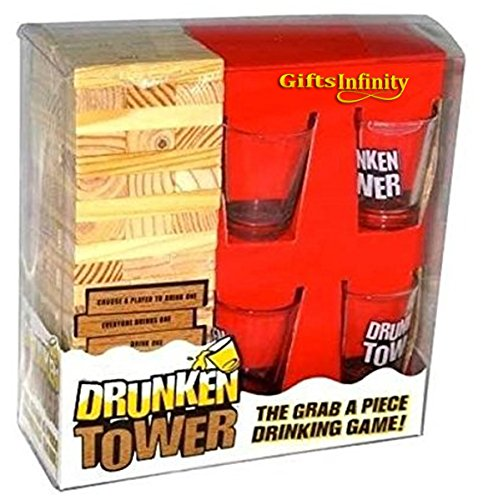Gifts Infinity Grab A Piece Drinking Block Game Drunken Tower, Wood