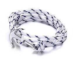 Vnox Des femmes des hommes en acier inoxydable en nylon blanc corde tressée Maritime Anchor Viking réglable Wrap Bracelet,Argent