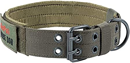 JiePai Military Dog Collar Adjustable Nylon k9 Tactical Dog Collar with D-Ring & Buckle Collars for Medium Large Dogs (Ranger Green,M)