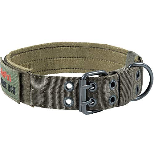 JiePai Military Dog Collar Adjustable Nylon k9 Tactical Dog Collar with D-Ring & Buckle Collars for Medium Large Dogs (Ranger Green,L)