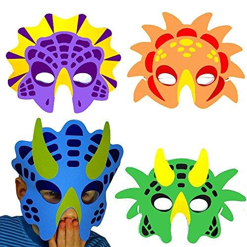 German Trendseller® - 8 x Dino Masken aus Schaumstoff ┃ für Kinder ┃ Dino Party ┃ Ideal zum Kindergeburtstag und Karneval