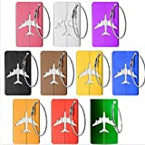 Kofferanhänger Koffer, 10 Stück Kofferanhänger Koffer- Tags mit Namensschild Adressschild Aluminium Flugzeug Gepäckanhänger aus Metall