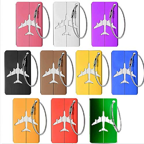Luggage tag Suitcase, 10 Pieces Luggage tag Luggage tag with Name tag Address tag Aluminum Airplane Luggage tag Made of Metal