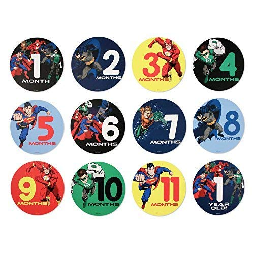 DC Comics Baby 1st Year Monthly Stickers : Batman, Superman, Justice League (0-12m)