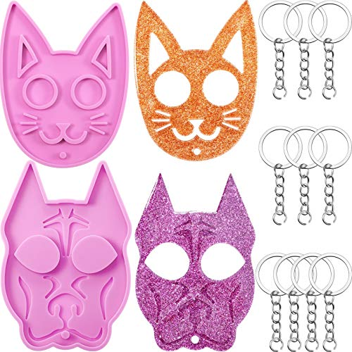 2 Pieces Cat Keychain Resin Mold and Dog Silicone Keychain Mold DIY Epoxy Pendant Molds with 10 Pieces Key Ring with Chains for Epoxy Jewelry Casting Polymer Clay Crafts Making (Pink)