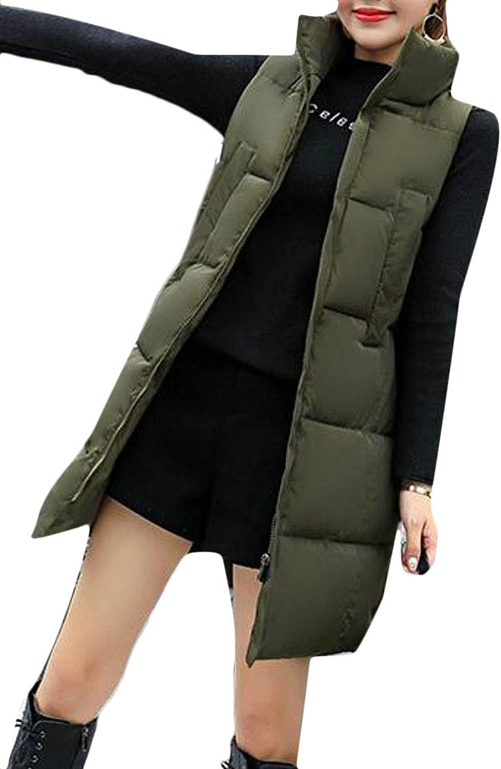 Etecredpow Womens Down Coat Outerwear Quilted Plus Size Winter Stand Collar MidLong Vest
