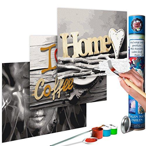murando Malen nach Zahlen Buddha & Home & Coffee 180x40 cm 3 Motiven Kit Malset Für Erwachsene und Kinder ab 12 Design Geschenk-Tube DIY Gemälde Handgemalt n-A-0586-ab-e