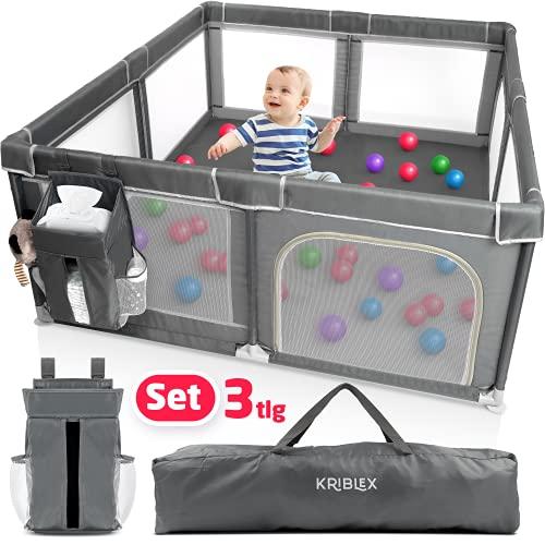 KRIBLEX® Parque infantil plegable para bebé, 180 x 150 cm, con organizador de pañales y bolsa de transporte, seguro plegable, ahorra espacio, rejilla de protección XXL, color gris oscuro