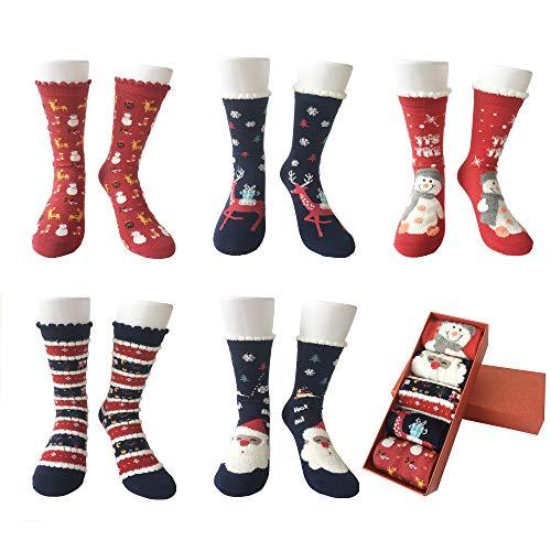 LIKERAINY Christmas Ragazze Donna Calzini Cotone di Natale Caldo Inverno Confortevole Babbo Natale e Alce 5 Paia