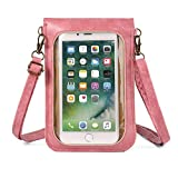 Leather Touch Screen Cell Phone Crossbody Purse Bag, Small Women Shoulder Phone Wallet Holder for Samsung Galaxy S20 FE S20 S21 A51 A50 A50s A20 A31 A30s S10+, iPhone 11 Pro Max, LG G8s ThinQ (Pink)