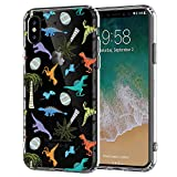 iPhone 7 Case,iPhone 8 Case,Fantastic Dinosaur Tropical-Themed Palm Tree iPhone Case Anti-Scratch Clear Soft Rubber Drop Full Protection Case for Apple iPhone 7/8