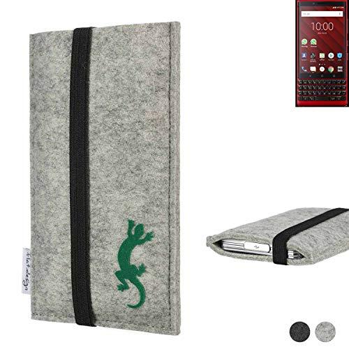 flat.design Handy Hülle Coimbra für BlackBerry KEY2 Red Edition handgefertigte Handytasche Filz Tasche Hülle fair Gecko