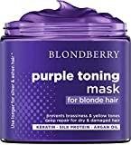 Purple Hair Mask for Blonde Hair - Made in USA - Platinum & Ash Blonde Toner - Brass Banisher with Purple Pigment - Keratin & Argan Oil Hair Treatment Mask - Premium Dry & Damaged Hair Repair - 8 Oz