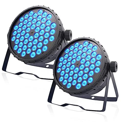 BETOPPER Stage Lights, 54x3W LED Par Lights RGB, DMX/Sound Activated DJ Lights, Strobe/Wash Lights for Wedding, Club, Party, Concert and Festival (2 Packs)