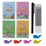 4 Pack English Practice Copybook, Magic Calligraphy Copybooks That Can Be Reused Handwriting Copybook Set with Pen Refills & Grips - Alphabet Drawing Number Math Learning for Preshchool Kids