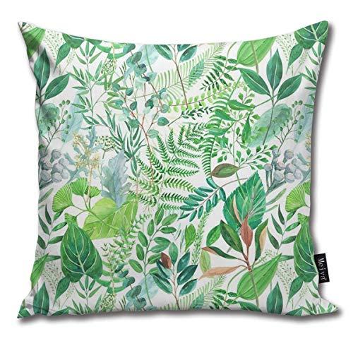 QUEMIN Funda de Almohada con diseño de Acuarela Verde, Funda de cojín para sofá en casa, Regalo Decorativo, 45 x 45 cm / 18 x 18 Pulgadas