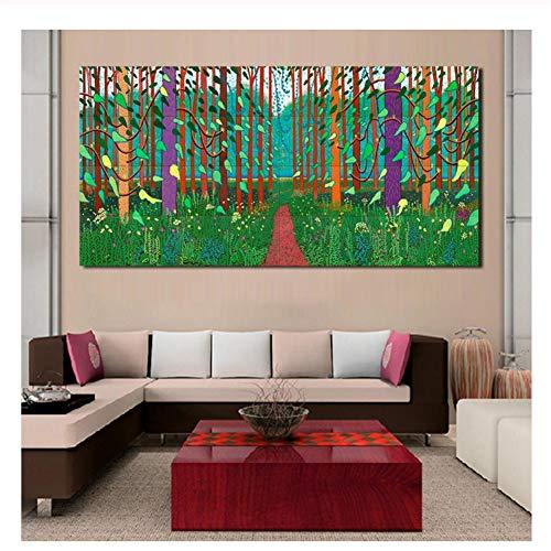 Suuyar David Hockney Ankunft des Frühlings Leinwandbilder Gemälde für Wohnzimmer Wand ohne Rahmen Dekorative Bilder Druck auf Leinwand-70x140cm ohne Rahmen