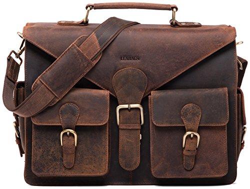 LEABAGS Dayton Aktentasche aus echtem Büffel-Leder im Vintage Look (rouge)