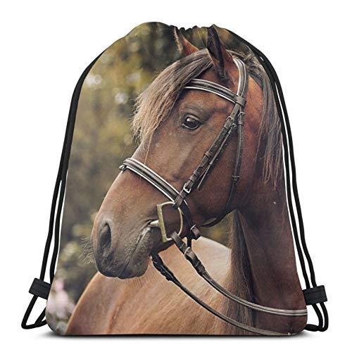 Pferdegeschirr Bokeh Unisex Kordelzug Rucksack Tasche Polyester Cinch Sack Wasserdicht Sport Gym Bag Casual Daypack für Frauen
