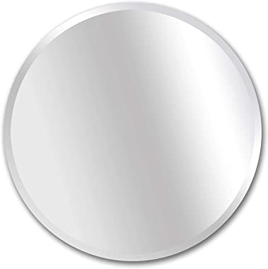 Alfa Design Decorative Wall-Mounted Circle Mirror - Hd Silver Mirror for Frameless Bathroom Modern Minimalist Circle Style Fr