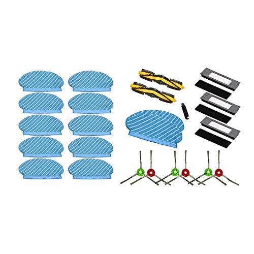 Monland - Set di 10 panni per mocio Deebot Ozmo 920 950 e 1 panno per pulizia principale con spazzola laterale e filtro HEPA