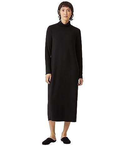 Eileen Fisher Scrunch Neck Full-Length Dress in Fine Stretch Jersey Knit