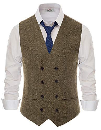 PaulJones Herren Wollmischung Tweed Weste Zweireiher Slim Fit Anzug Weste Kaffee XL