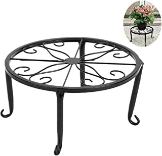 9 inch Metal Potted Plant Stand - Proof Wrought Iron Flower Pot Holder Iron Short Flower Pot Bracket Tripod Floor Dish Decorative Flower Pot Pot Holder (Black)