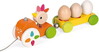 Janod Zigolos Pull Along Shape Sorter Tractor Hen Early Learning and Motor Skills Toy Made of FSC Certified Beech and Cherry Wood for Ages 12 Months+