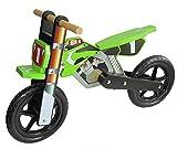 Dunjo Holz Motorrad Laufrad Cross Pro Grün | Lauflernrad Für Kinder | Ab 2-3 Jahren