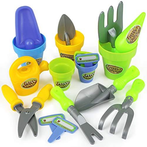 LEMESO 20 Piezas Pack de Juguetes de Jardín para Niños Juegos Jardinería Herramientas de Plástico Infantil