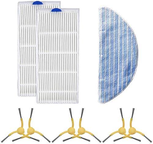 Dibea Juego de piezas de repuesto D500Pro Robot aspirador, 1 toallita, 2 filtros HEPA lavables, 3 pares de cepillos laterales