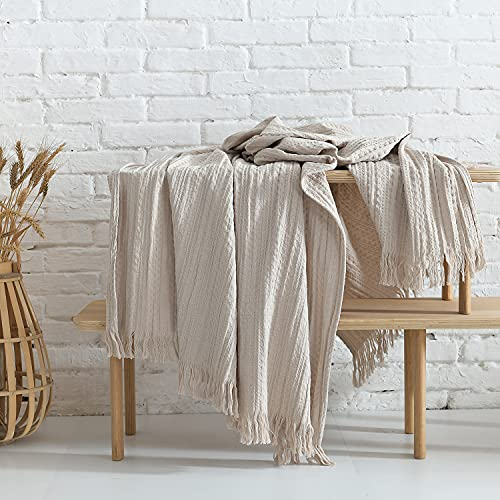 100% Cotton Throw Blanket, Waffle Woven Beige Decorative Blanket with Fringe, Rustic Pre-Washed Soft, Cozy, Light Weight Blanket for Couch,Bedroom,Travel, Farmhouse Boho Style Thermal Throw, 60''x80''